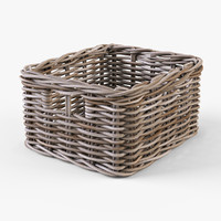 wicker basket ikea byholma 3d model