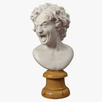 obj sculpture damned soul bust