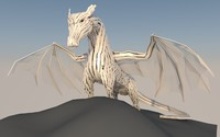 3ds max original metal statue dragon