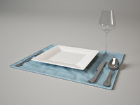 3d model of tableware set royal 1