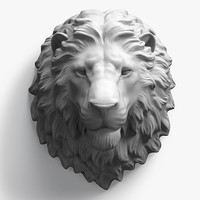 3d head calm lion