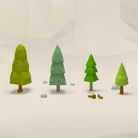 Cartoon low poly trees pack 2