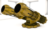 free steampunk cannon 3d model