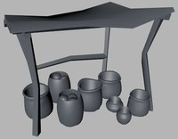 medieval market stall 3d dxf
