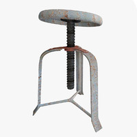 3d model rusty broken stool