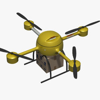 unmanned delivery drone 3d model