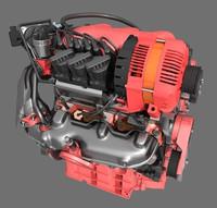3d model 6 cylinder engine