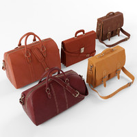 3d model set s leather bag