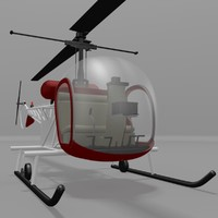3d bell 47 helicopter