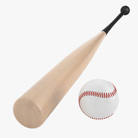 3d model of baseball bat ball
