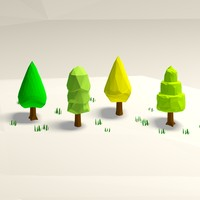 Cartoon low poly trees pack 3