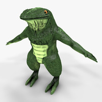 3d model humanoid lizard