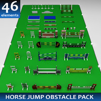 3d pack horse jumping obstacle model