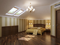 bedroom interior bed 3d model