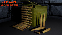 50 bmg ammunition box 3d max