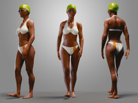 3d model casual swimmingpool girl