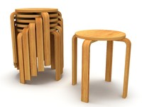 Wood Modern Tabouret Stool and Stack of Stools