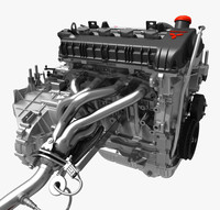 3d engine transmission exhaust model