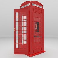 3d red telephone booth