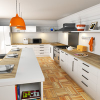 3d model kitchen room dining
