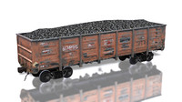 3d model cargo train 12-1592 traincars