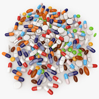 3d pills modeled pile