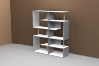 modern bookcase books 3d model
