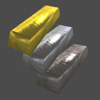 Gold, Silver and Metal bars(Low poly)