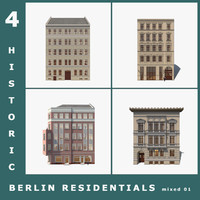 4 berlin houses 3d dxf