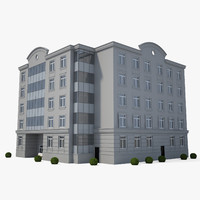 3d model of building lamppost bushes