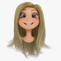 3d rigged cartoon girls head model