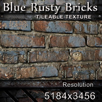 Blue Rusty Bricks Texture