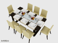 maya realistic dinning table chairs