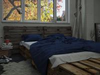 3d grunge pallet bedding model
