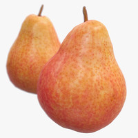 3d model red pear scanned polys