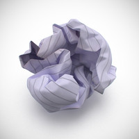 3d model of crumpled ball paper