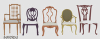 realistic antique chairs 3d model