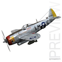 3d model republic p-47 thunderbolt -
