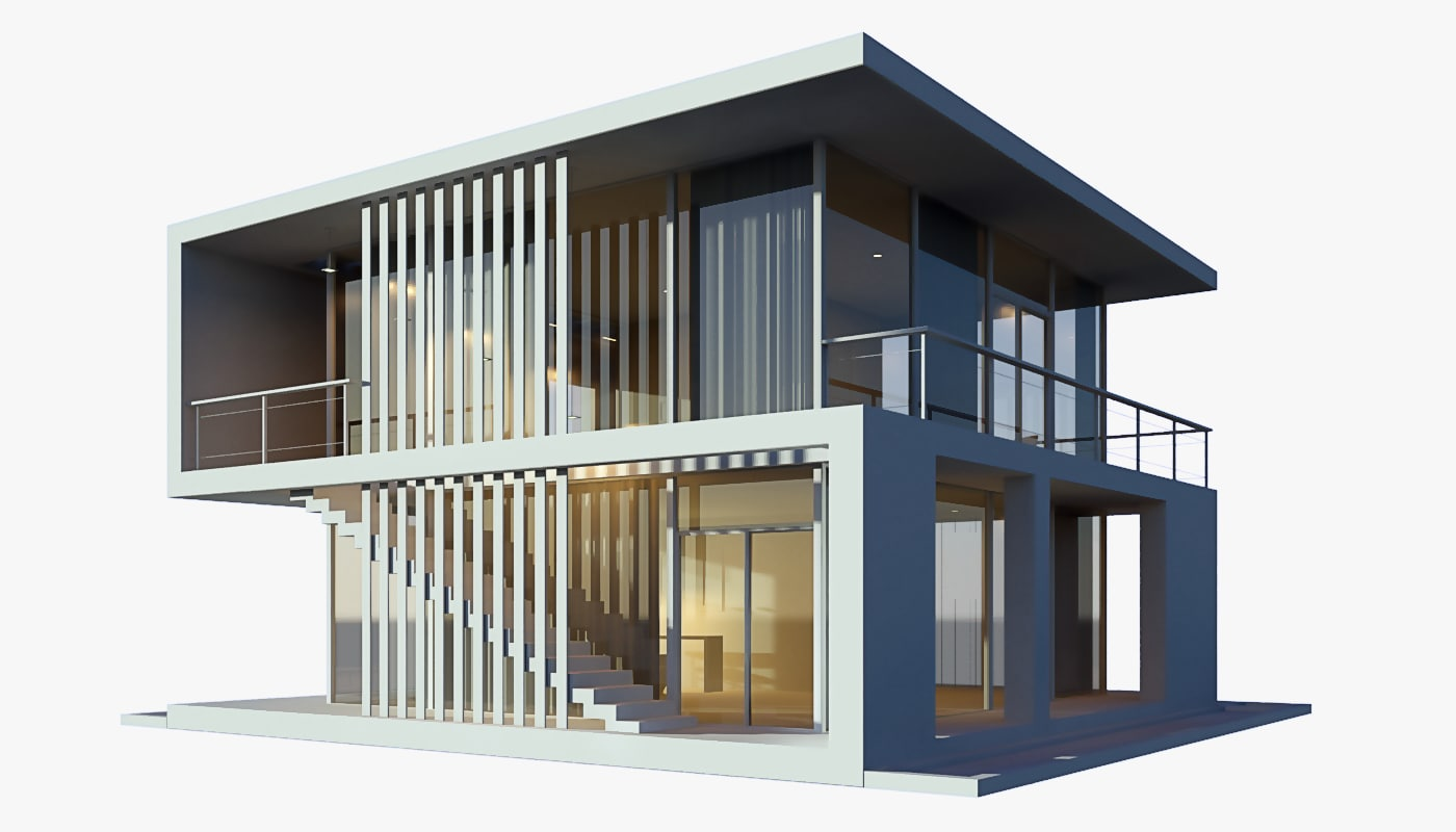 3d modern beach house model 3d model house design
