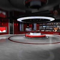 3d model of virtual set news studio