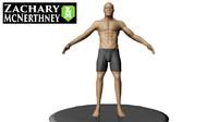 3d old man athlete model
