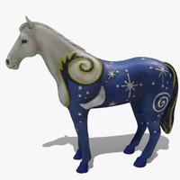 3ds max figurine horse statuettes