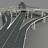 highway viaduct 3d obj