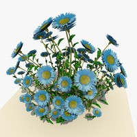 blue daisy flowers 3ds