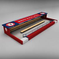 3d model stadium baseball dugout