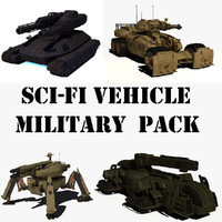 sci-fi vehicle military pack 3d obj