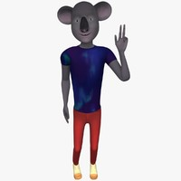 3d model cartoon character hipster koala