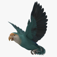 3d agapornis roseicollis peach faced model