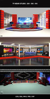 Tv News Studio Set Design Bundle  004 - 006 - 016