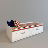 ikea brimnes bed interior 3d model